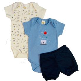 conjunto body bebe menino azul