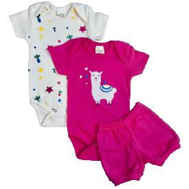 conjunto body bebe manga curta e short bermuda verao menina kit 3 pecas promocao moda infantil