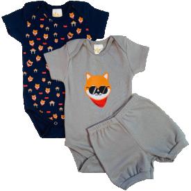conjunto body bebe manga curta e short bermuda verao menino roupa infantil promocao