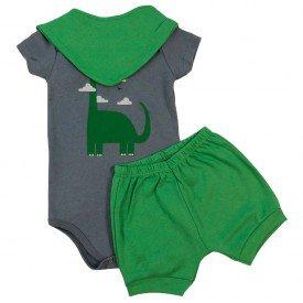 conjunto bermuda camiseta short menino menina verao manga curta pmg 123 3 pecas dino nuvens verde chumbo menino